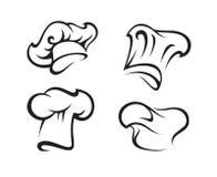 Jogo de chapéus do cozinheiro chefe ilustração stock
