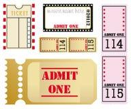 Jogo de cinco bilhetes diferentes do filme ilustração royalty free