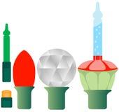 Jogo de cinco luzes de Natal diferentes Imagens de Stock Royalty Free