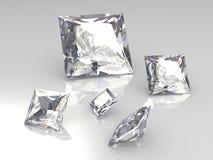 Jogo de cinco pedras quadradas do diamante - 3D Imagens de Stock