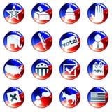 Jogo de ícones brancos e azuis vermelhos da eleição Imagem de Stock