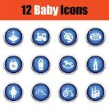 Jogo de ícones do bebê Fotos de Stock Royalty Free