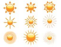 Jogo de ícones do sol Fotografia de Stock