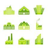 Jogo de ícones verdes da fábrica da ecologia Imagens de Stock
