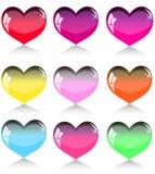 jogo de corações diferentes da cor Foto de Stock Royalty Free