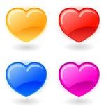 Jogo de corações do vetor no fundo branco Fotos de Stock Royalty Free