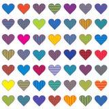 Jogo de corações estilizados coloridos ilustração stock