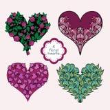 Jogo de corações florais ilustração stock