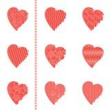 Jogo de corações modelados Imagens de Stock Royalty Free