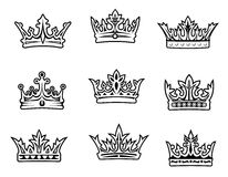 Jogo de coroas reais Imagens de Stock