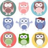 Jogo de corujas dos desenhos animados com várias emoções Fotos de Stock