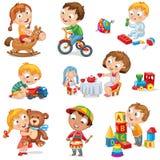Jogo de crianças com brinquedos Imagem de Stock Royalty Free