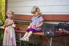 Jogo de crianças com maçãs foto de stock