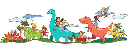 Jogo de crianças com os dinossauros em Dinoworld ilustração do vetor