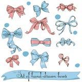 Jogo de curvas da cor-de-rosa e do azul do vintage Fotografia de Stock Royalty Free