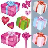 Jogo de decorações da caixa e do feriado de presente Foto de Stock
