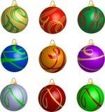 Jogo de decorações das esferas do Natal do redemoinho 3D ilustração royalty free