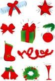 Jogo de decorações do Natal Fotografia de Stock