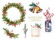 Jogo de decorações do Natal Ilustração da aguarela Imagens de Stock Royalty Free