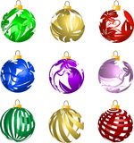 Jogo de decorações transparentes das esferas do Natal 3D ilustração stock