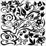 Jogo de detalhes florais ilustração do vetor