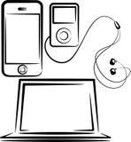 Jogo de dispositivos dos media Imagem de Stock