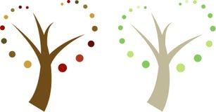 Jogo de dois: Árvores na mola/verão + na queda/outono ilustração do vetor