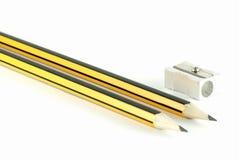 Jogo de dois lápis e de um sharpener Imagem de Stock