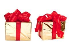 Jogo de duas caixas do ouro Fotografia de Stock Royalty Free