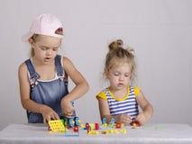Jogo de duas crianças no construtor Fotografia de Stock Royalty Free