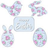 Jogo de Easter Pássaro da Páscoa, coelho, ovo com rosas Fotografia de Stock