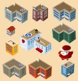 Jogo de edifícios isométricos. Imagem de Stock
