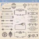 Jogo de elementos caligráfico da decoração do vetor Fotos de Stock