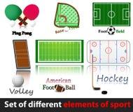 Jogo de elementos diferentes do esporte. Imagem de Stock