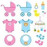 Jogo de elementos do bebê Fotografia de Stock