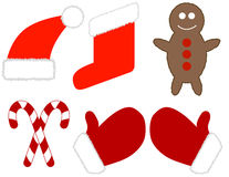 Jogo de elementos do Natal Imagens de Stock Royalty Free