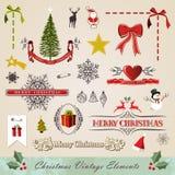 Jogo de elementos do Natal do vintage Imagem de Stock