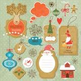 Jogo de elementos do Natal do vintage e do ano novo Fotografia de Stock Royalty Free