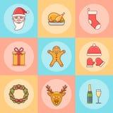 Jogo de elementos do Natal Linha lisa ícones fotografia de stock royalty free