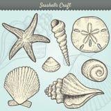 Jogo de elementos do ofício dos Seashells Foto de Stock Royalty Free