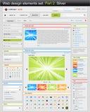 Jogo de elementos do projeto de Web. Prata da parte 2. Imagens de Stock Royalty Free