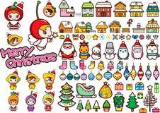 Jogo de elementos do projeto do Natal ilustração do vetor