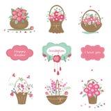 Jogo de elementos do projeto floral Imagens de Stock Royalty Free