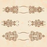 Jogo de elementos do projeto floral do vintage ilustração royalty free