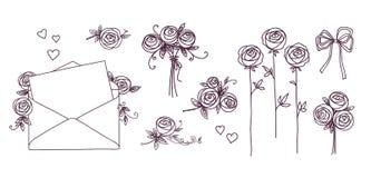 Jogo de elementos do projeto floral O ramo da flor envolve o coração Flores das rosas Conceito do dia de Valentim do aniversário  ilustração stock