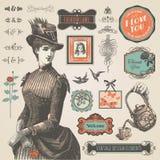 Jogo de elementos do vintage ilustração royalty free