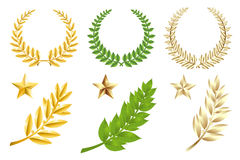 Jogo de elementos dourado e verde Foto de Stock Royalty Free