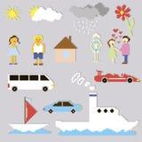 Jogo de elementos e de desenhos animados do pixel Imagem de Stock