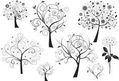 Jogo de elementos florais do projeto abstrato ilustração do vetor