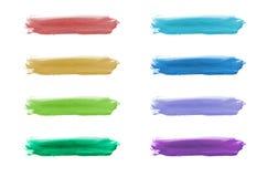 Jogo de elementos pintado mão do projeto da forma da aguarela. Imagens de Stock